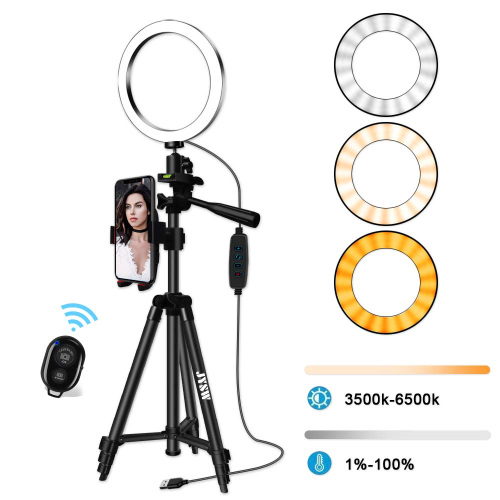 8'' Selfie Ring Light with Tripod Stand,Dimmable Selfie Ring Light with Tripod and Cell Phone Holder for Makeup/Live Stream,Mini Led Camera Light Ring for iPhone/Android ,Remote (Black Upgraded) by JYSW