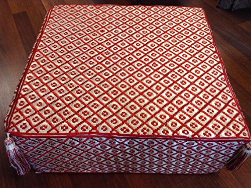 Moroccan Style Ottoman Pouf in Red & White Embroidered Linen and Hanging Tassels by Moroccan Furniture Bazaar