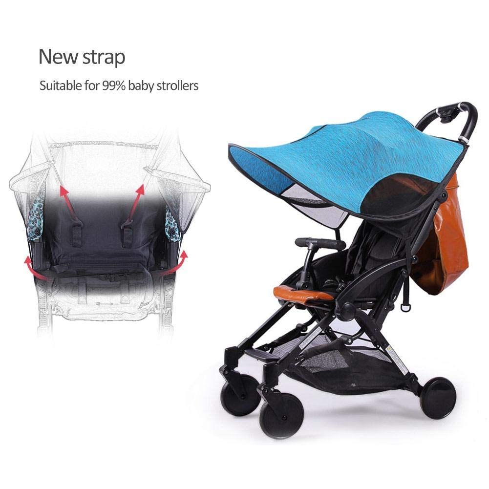 ZLMI Sunshade for Baby Stroller Universal pram pushchairs Buggy Sun Shade Parasol Sunscreen Cover Thickened Steel Wire Strip,Blue by ZLMI (Image #5)