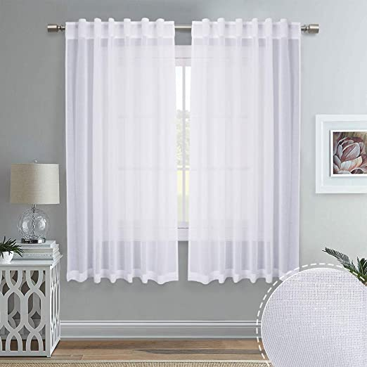 Amazon Com Ryb Home Linen Like White Sheer Curtains For Living Room Rod Pocket Back Tab Headers Hang With Rods Hooks Home Office Bedroom Draperies Window Decor 55 X 63 Inches Long 1 Pair,One Bedroom Apartments In Northern Va