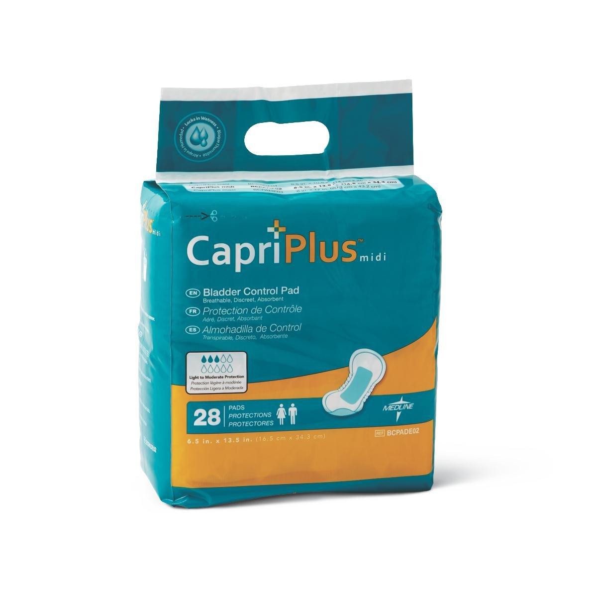 Medline BCPE02 Capri Plus Bladder Control Pads, 6.5'' x 13.5'' (Pack of 28)