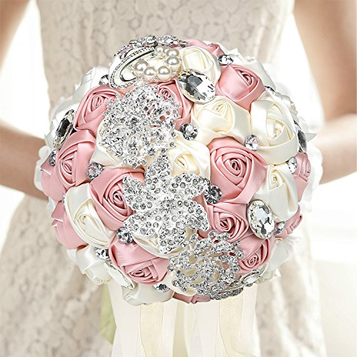 Wedding Bouquet, Pink & White Rose Satin Jeweled Bridal Throw Bouquet, Bridesmaid Holding Flowers