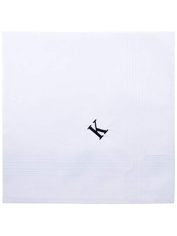 Mens 3 Pack 100/% Cotton Monogrammed Handkerchiefs Initial Letter Hanky White P