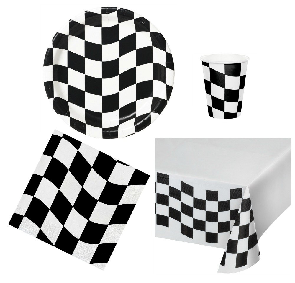Race Car Party Bundle - Black and White Party Plastic Tablecloth 8 Checkered Round Paper Plates 8 cups 16 Napkins Creative Converting  sc 1 st  rcrcshop.top & Race Car Party Bundle - Black and White Party Plastic Tablecloth 8 ...