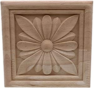 Timesens Vintage Unpainted Wood Carved Decal Corner Applique Frame for Home Furniture Wall Cabinet Door Decorative Wooden Miniature Craft 8cmX8cm4