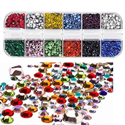 (Hotfix Flatback Rhinestones Glass Rhinestones Dorhui Hot Fix Stones Iron on Glue Glass Flat Back Gemstones AB Crystals 4800 Pieces 12 Colors 3 Sizes 2-4 MM (SS6-SS16) in Storage Box)