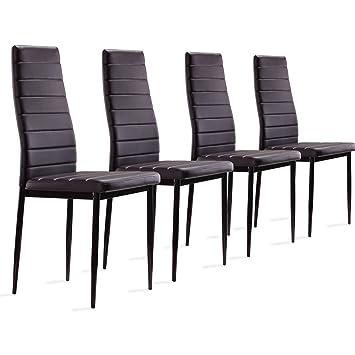 4 Stück Esszimmerstühle, Küchenstühle Mit Hochwertigem Kunstlederpolster   (dunkel Braun)