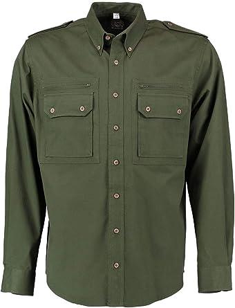 OS Trachten Camisa de caza para hombre, color verde oscuro: Amazon.es: Ropa y accesorios