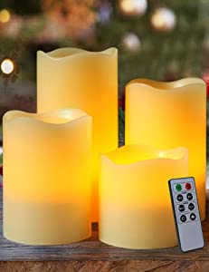 """HOME MOST Set of 4 Real Wax Ivory Flameless Pillar Candles with Remote (Wavy Edge, 3""""/4""""/5""""/6"""" Tall) - LED Flameless Flickering Candles with Remote and Timer - Wedding Candles Set Ivory Candles Bulk"""