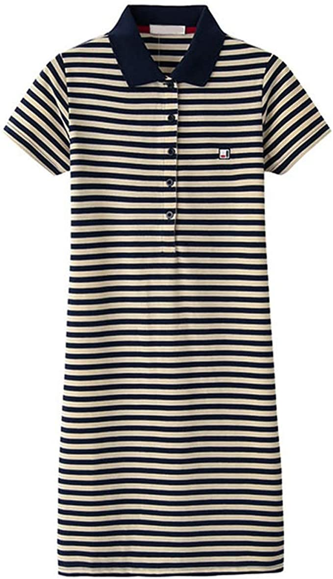 BKNQ Lady Polo Cuello Rayas Casual Vestido De Camiseta: Amazon.es ...