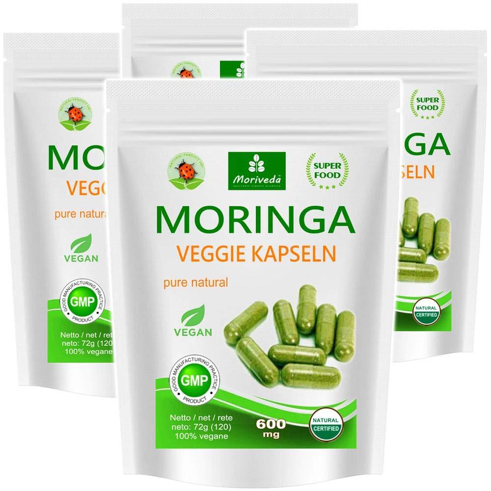 Moringa 480 oleifera veggie altas dosis de 600mg cápsulas - 100% de alimentos crudos vegano (4x120 cápsulas): Amazon.es: Salud y cuidado personal