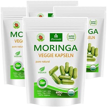 Moringa 480 oleifera veggie altas dosis de 600mg cápsulas - 100% de alimentos