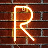 Light up LED Neon Letter Sign Wall Decorative Neon Lights Warm White Alphabet Marquee Letter Lights for Home Birthday Wedding Party Decor - R