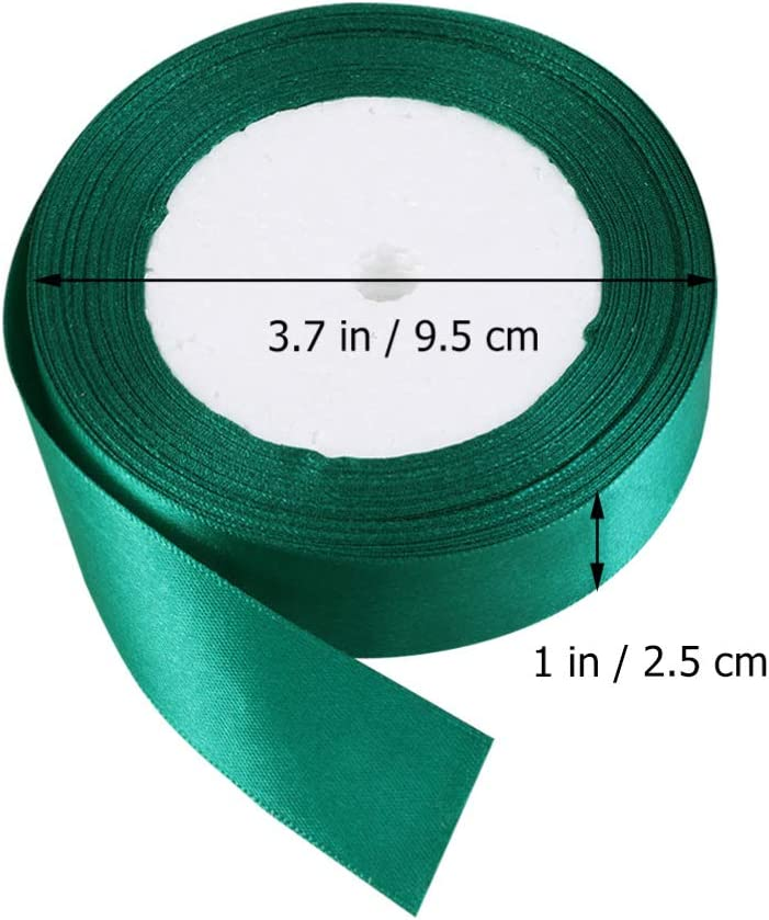 Green, Width 1 inch//1 cm Exceart 1 Roll 25 Yard Gift Wrapping Ribbon Solid Satin Ribbon Craft for Party Gift Wedding Cake