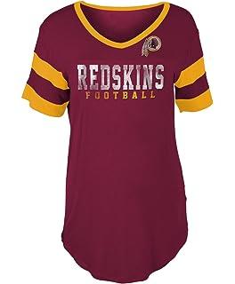 New Era Washington Redskins Women s Double Stripe Short Sleeve V-Neck T- Shirt cb0a172aa