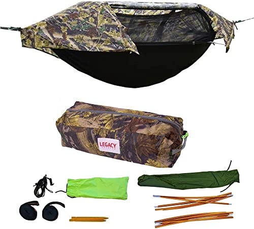 Legacy Premium Food Storage Camping Hammock Tent – Parachute Nylon – Portable, 1 Person Compact Backpacking – Outdoor Emergency Gear – Tree Straps, Tie Ropes, Mosquito Net, Rain Fly