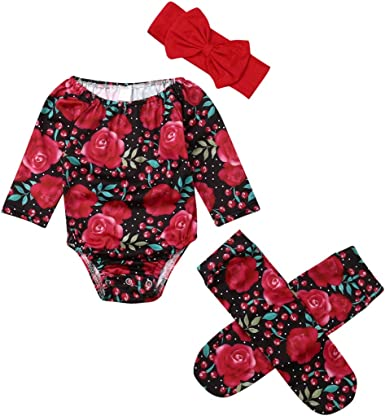 US 2PCS Toddler Baby Girls Floral Romper Bodysuit Jumpsuit Clothes Outfit Set