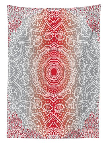 """Ambesonne Grey and Red Tablecloth, Eastern Cultural Folk and Mystic Boho Ombre Mandala Art Design, Rectangular Table Cover for Dining Room Kitchen Decor, 60"""" X 90"""", Grey Red"""