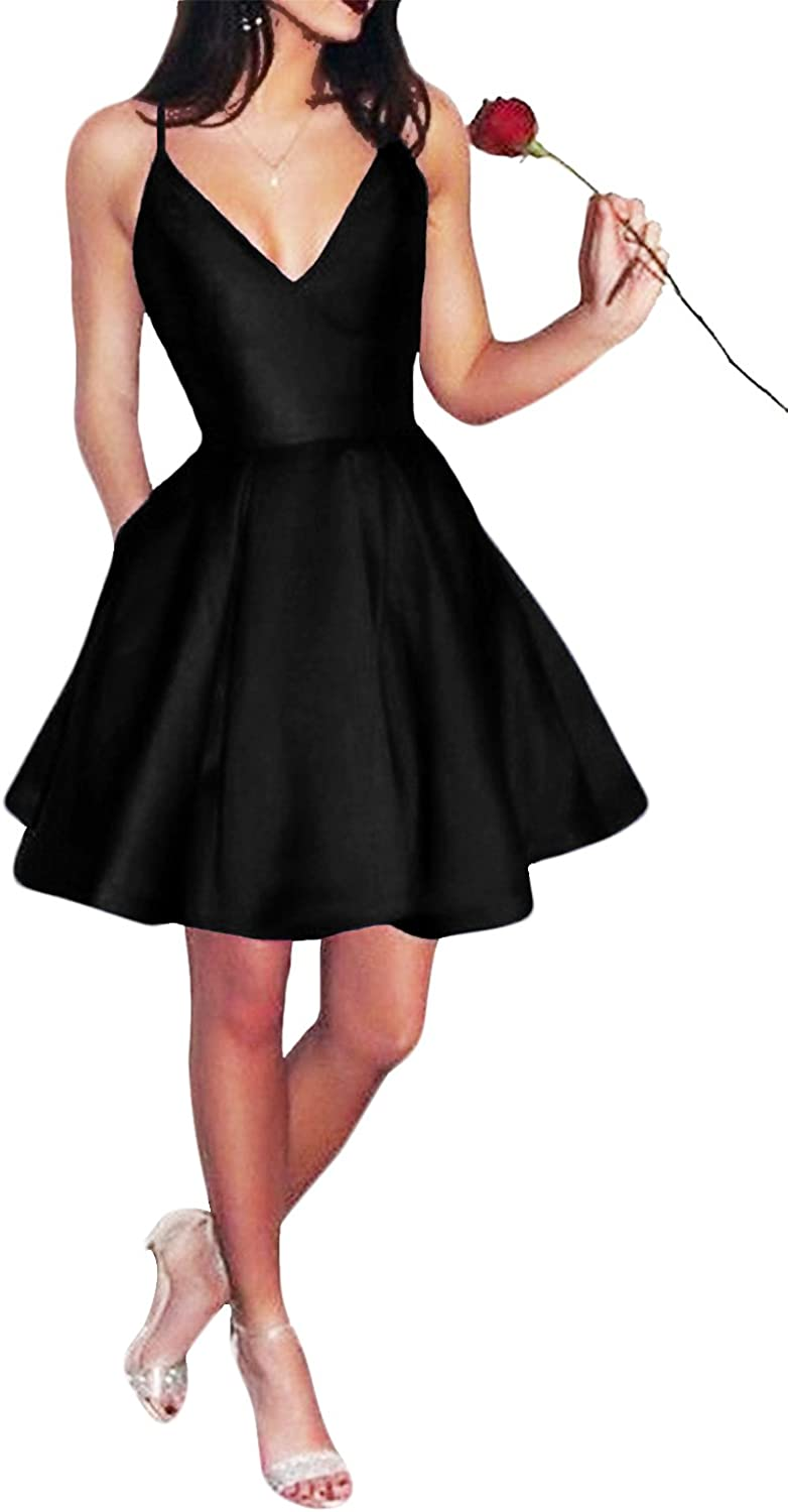 Yangprom Womens Short Spaghetti Straps V-Neck A-Line Homecoming Dress With Pockets