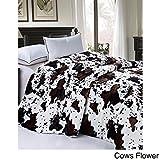 BNF Home Cobija suave y gruesa de pelo pelo sintético y forro de sherpa, Flor de vaca, Queen, 1