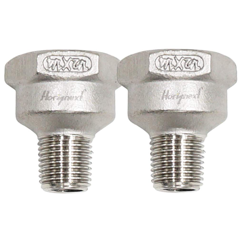 Horiznext npt 1/2 -1/4 male to female thread reducer adapter, stainless steel connector for plumbing,shower hose, sink faucet, tub, air water gas line(2 pcs)