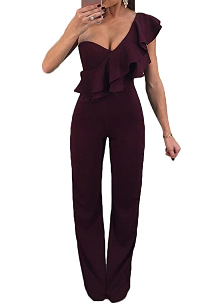 a8f401660 Amazon.com: Vepodrau Wome One Shoulder Ruffle Patchwork Straight Long Pants Rompers  Jumpsuit Wine L: Clothing