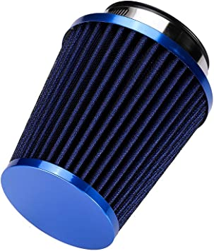 """BLUE UNIVERSAL 3/"""" 76mm SMALL AIR FILTER FOR HONDA//ACURA SHORT//COLD AIR INTAKE"""