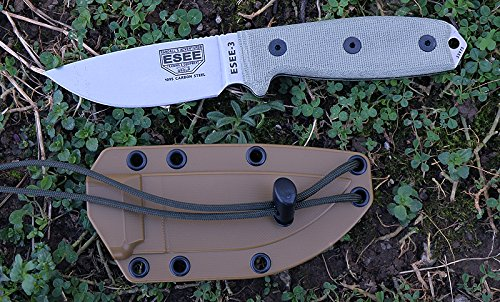 ESEE -3P Uncoated Blade & Sheath with Micarta Handles, Coyote Brown by ESEE (Image #4)