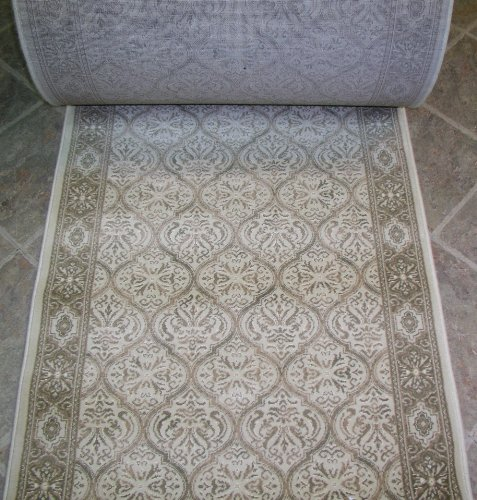 Runner Custom Ivory Roll (114440 - Rug Depot Couristan Creations Lumiere CB74/B001A Beige Traditional Hall and Stair Runner - 31