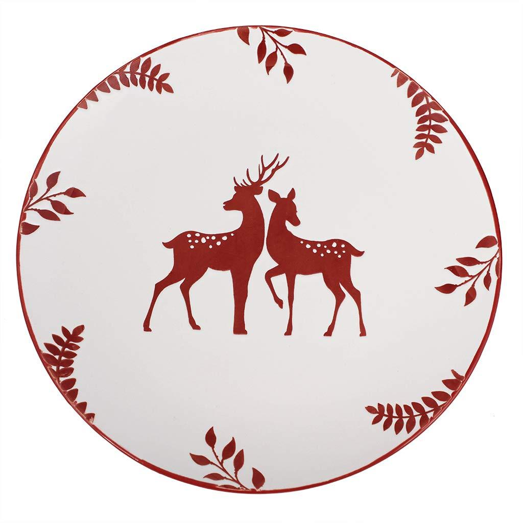 Set of 4 White Forest Reindeer Dishwasher Microwave Safe Dinner Plates D28cm