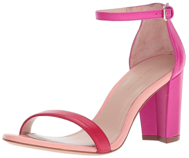 Red suede Stuart Weitzman Women's Nearlynude Heeled Sandal