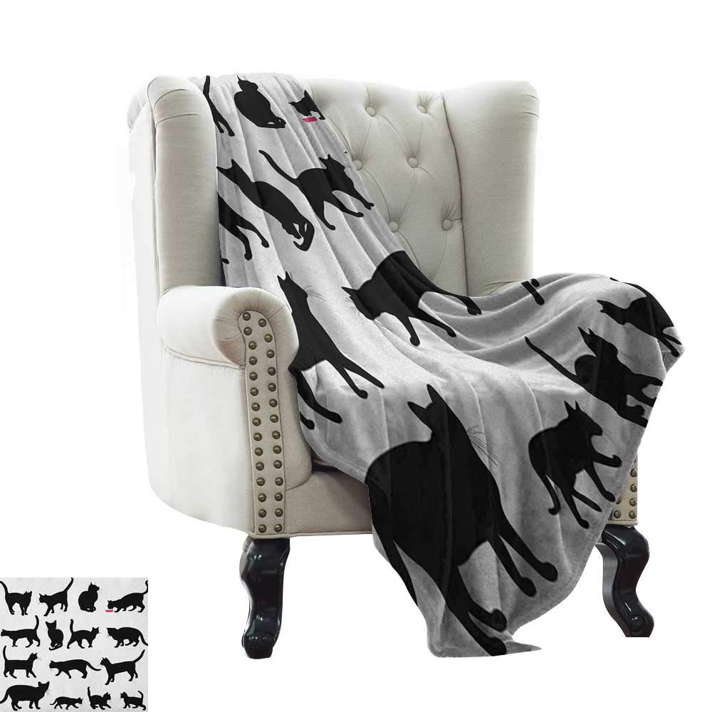 BelleAckerman cat Blanket Cat,Black Cat Silhouettes in Different Poses Domestic Pets Kitty Paws Tail and Whiskers, Black White Blanket for Sofa Couch TV Bed All Season 60''x70'' by BelleAckerman (Image #1)