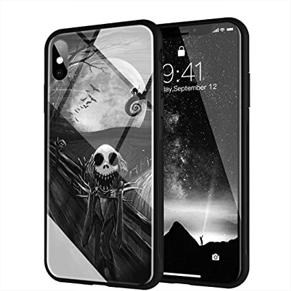 buy cheap 1550b c7a07 iPhone X Case, iPhone Xs Case, Tempered Glass Back Cover Soft Silicone  Bumper Compatible with iPhone X/XS AM-24 The Nightmare Before Christmas  Jack ...