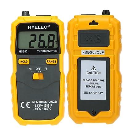 eKugo™ HYELEC MS6501 Termostato exhibición grande del LCD termómetro Digital tipo K con termopar Termometro