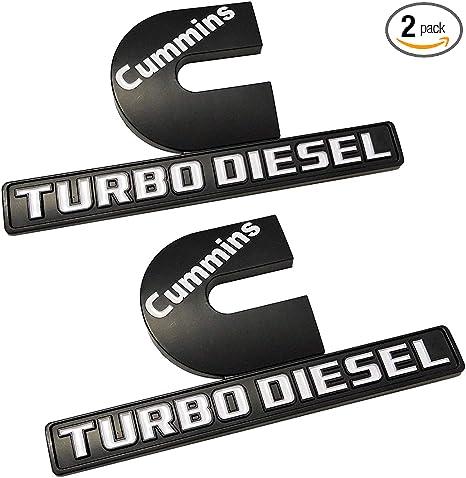 Cummins Turbo Diesel >> Yuauto 2 Pack Cummins Turbo Diesel Emblems 3d Decal Badges Replacement For Dodge Ram 2500 3500 Nameplate Emblem Mopar Black White