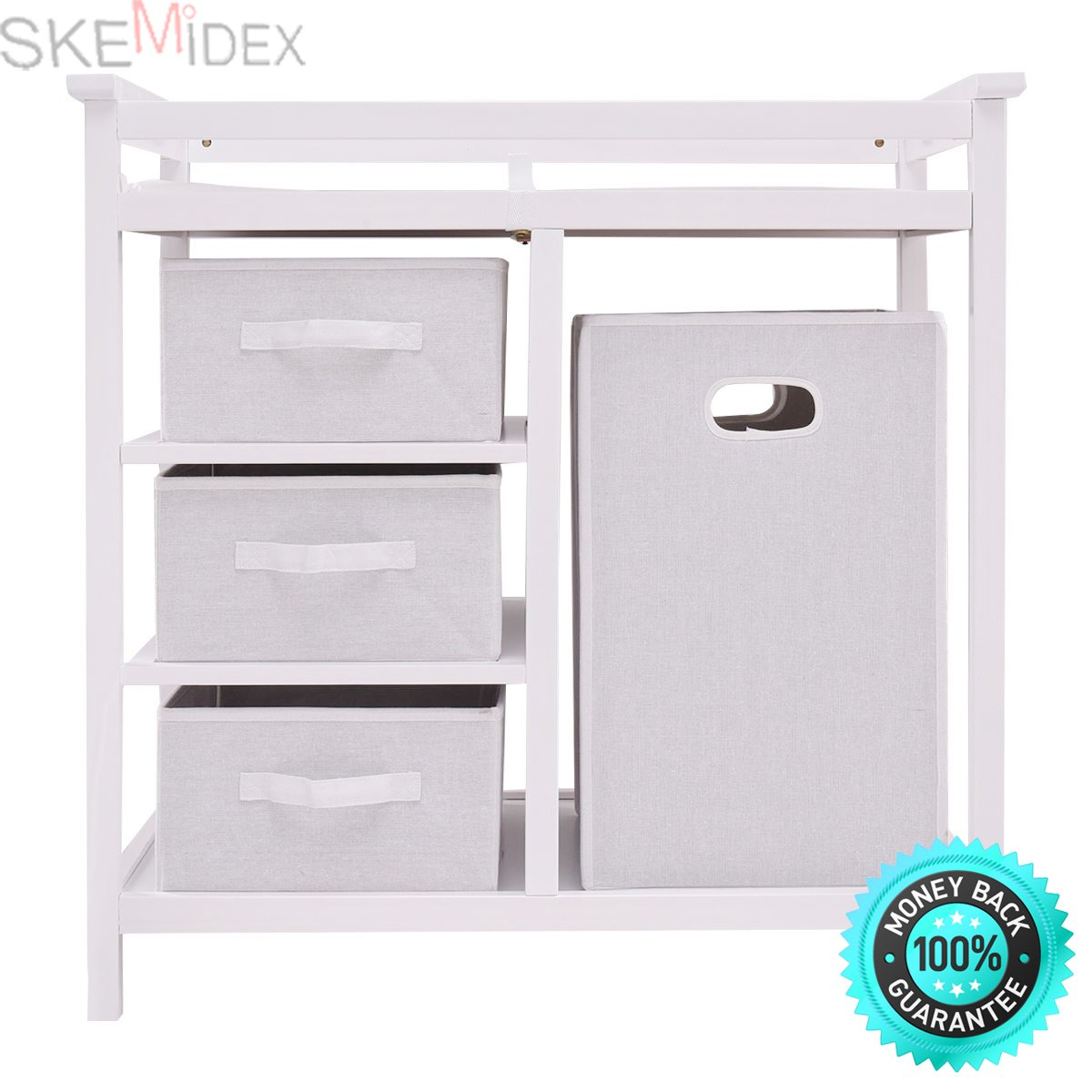 SKEMiDEX---White Infant Baby Changing Table 3 Basket Hamper Diaper Daycare Storage Nursery. Three small baskets for baby's toiletries, socks and other small items