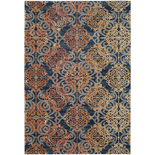Safavieh Evoke Collection EVK230S Vintage Medallion Damask Blue and Orange Area Rug (4' x 6')