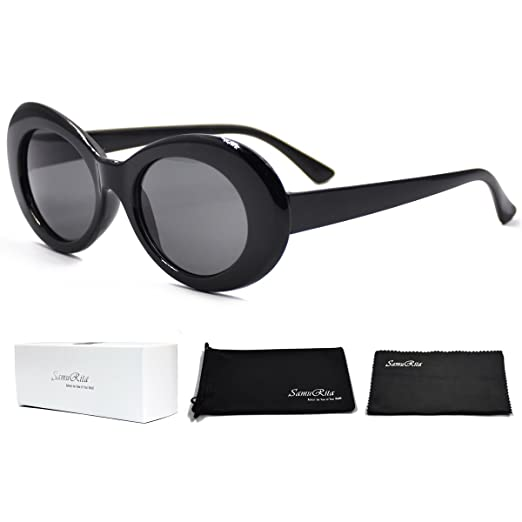 6148a6d119 SamuRita Thick Frame Round Sunglasses Bold Oval Mod Fashion Unisex Shades( Black)