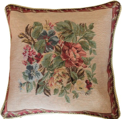 (Tache Floral Bordered Cushion Cover - Yuletide Blooms - Square 18 X 18 Inch - Red, Beige Tapestry Throw Pillow Cover - 1 Piece - 5598)