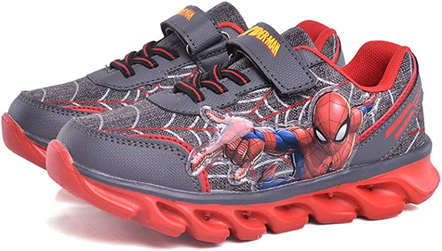 Kids Boys Running Shoes Trainer LED Spiderman Shockproof School Sports For 1-10Y