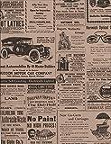 Vintage Newsprint Kraft Rolled Gift Wrap - 24' x 15'