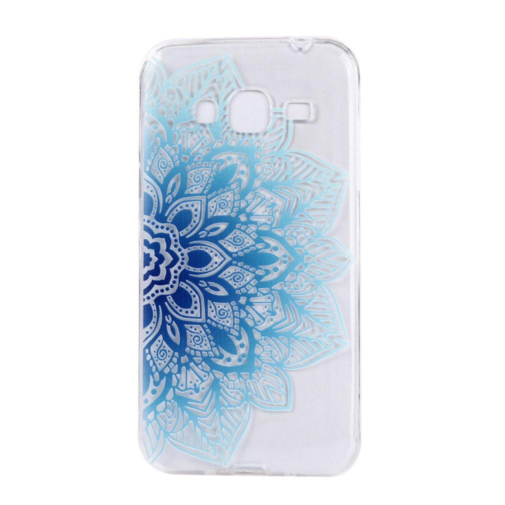 Funda Samsung Galaxy J3 2016, MHHQ Generic Slim Fit Carcasa Case TPU Bumper Silicona Gel Transparente Suave Goma Cover Anti-rasguños Galaxy J3 2016 -Blue Flower