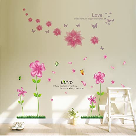 Lovely B.GTAGO Lovely Pink Petal Flowers U0026 Butterflies Wallpaper For Living Room  Bedroom, Removable