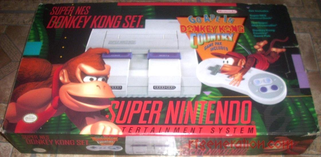 Super Nintendo SNES System - Video Game Console - Donkey Kong Bundle: Video Games