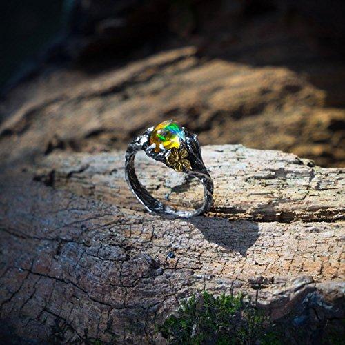 Fire Opal Ring - Sterling Silver Ethiopian Fire Opal Ring