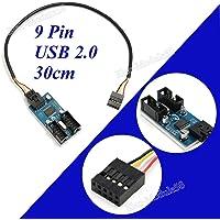 FidgetGear 9 Pin USB Cabecera Macho 1 a 2 Hembra Cable Extensor 9P USB 2.0 Puerto multiplicador HUB