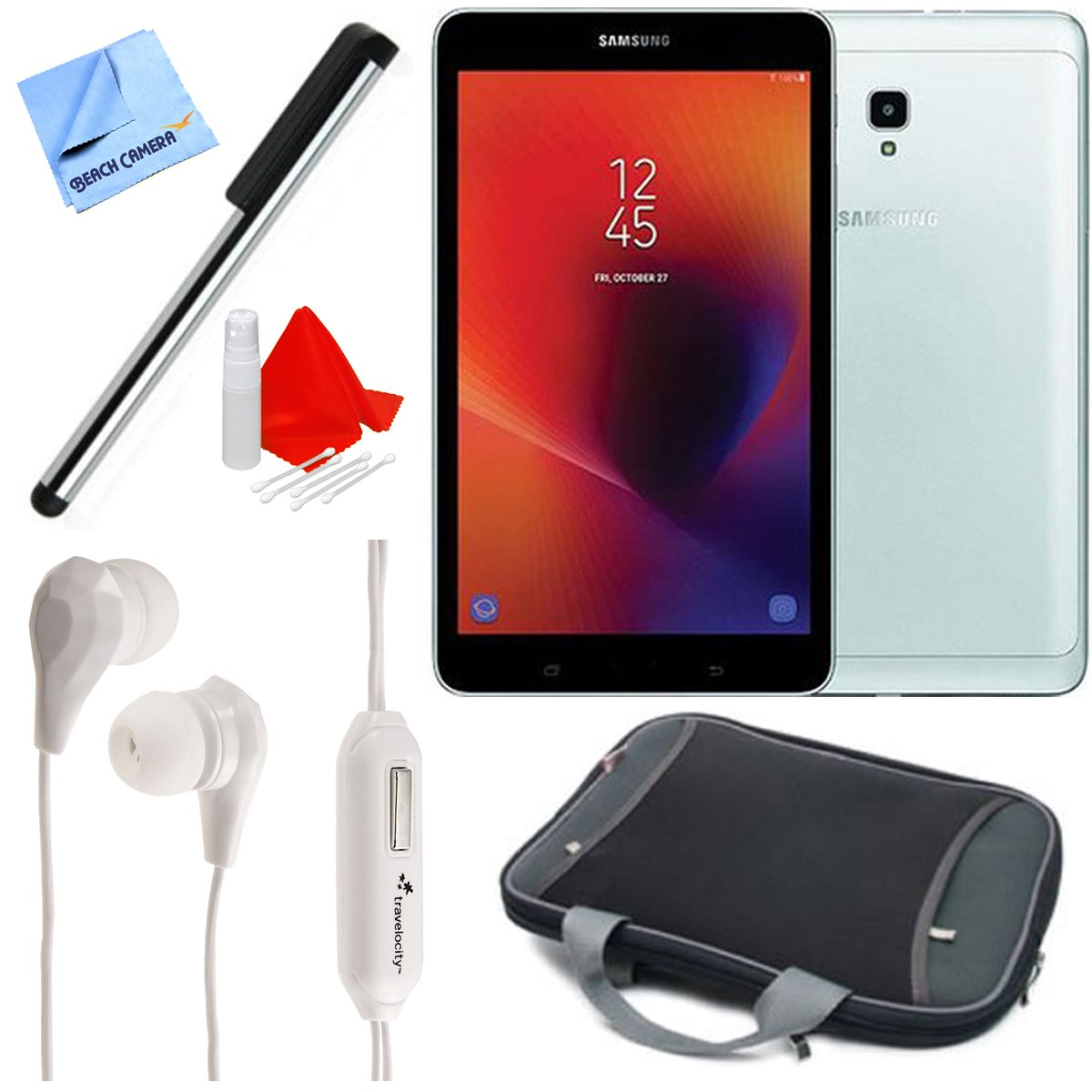 Samsung SM-T380NZSEXAR 8'' Galaxy Tab A 32GB Tablet (2017) (Silver) Deluxe Bundle with Stylus Pen, In-Ear Headphones, and Tablet Case