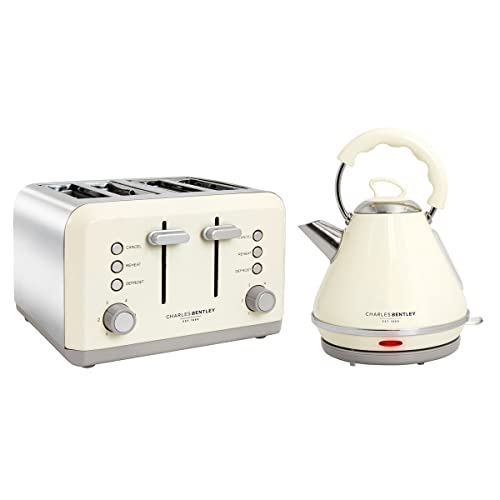 Charles Bentley Cream & Grey 3kW 1.7 Pyramid Kettle And 4 Slice Toaster Breakfast Kitchen Appliance Set New