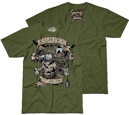 a5c7d0d32 7.62 Design Men's Sacrifice & Valor T-Shirt Military Green: Amazon ...