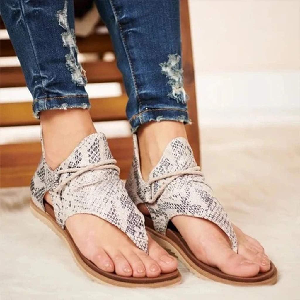 ODIZLI Womens Posh Gladiator Sandals Ladies Summer Casual Flat Heel Slip On Sandals Comfy Vintage Sandals with Back Zipper